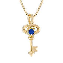 Round Sapphire Pendant (18 in.)