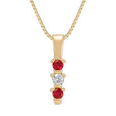 Round Ruby and Diamond Three-Stone Pendant (18)