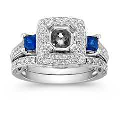 Halo Vintage Princess Cut Sapphire and Round Diamond Wedding Set