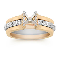 Round Diamond Two-Tone Gold Wedding Set with Pave Setting
