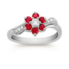 Round Ruby and Diamond Ring