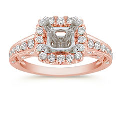 Halo Diamond Rose Gold Engagement Ring
