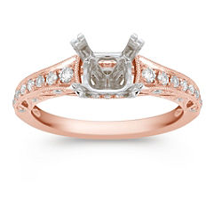 Vintage Cathedral Diamond Engagement Ring with Pave Setting in Rose Gold