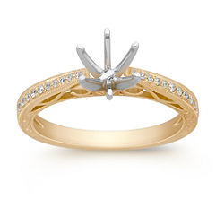 Vintage Cathedral Diamond Engagement Ring with Pave Setting in 14k Yellow Gold