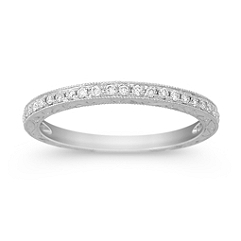 Vintage Engraved Diamond Wedding Band with Pave Setting