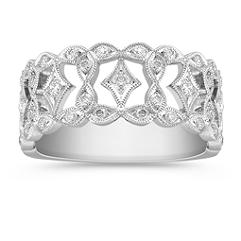 Vintage Diamond Platinum Ring with Pave Setting