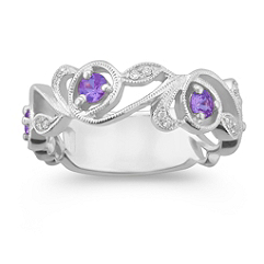 Four Round Lavender Sapphire and Diamond Ring