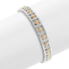 Round Diamond Bracelet in Two-Tone Gold (7 in.)