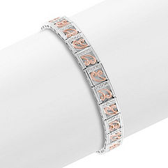 Round Diamond Bracelet in 14k White and Rose Gold (7 in.)
