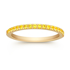 Round Yellow Sapphire Wedding Band