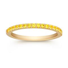 Round Yellow Sapphire Wedding Band