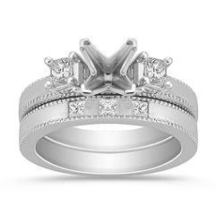 Three-Stone Princess Cut Diamond Wedding Set
