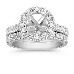 Halo Diamond Wedding Set
