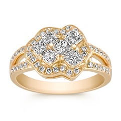 Calla Cut and Round Diamond Ring