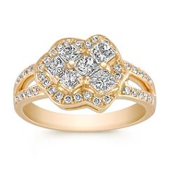 Calla Cut and Round Diamond Ring