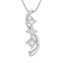 Swirl Princess Cut Diamond Three-Stone Pendant (18 in.)