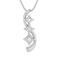 Swirl Princess Cut Diamond Three-Stone Pendant (18 in.)