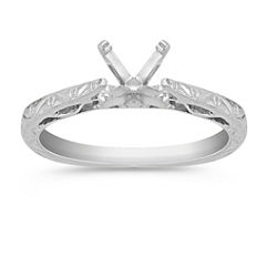 Engraved Cathedral Solitaire 14k White Gold Engagement Ring