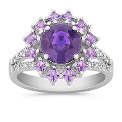Round Lavender Sapphire, Princess Cut Lavender Sapphire, and Round Diamond Ring