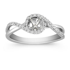 Split Shank and Swirl Round Diamond Ring