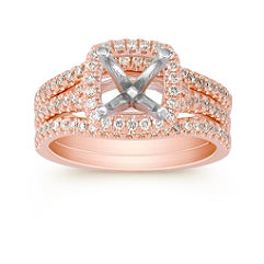 Halo Diamond Rose Gold Wedding Set with Pave Setting