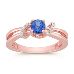 Round Kentucky Blue Sapphire and Diamond Ring in Rose Gold