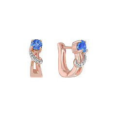Round Kentucky Blue Sapphire and Diamond Earrings in Rose Gold
