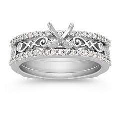 Diamond Wedding Set for Her with Pave Setting