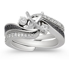Diamond Wedding Set with Pave Setting