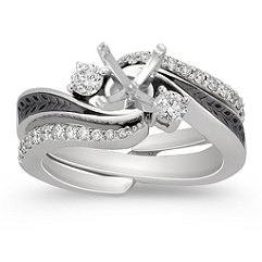 Diamond and Black Ruthenium Wedding Set with Pave Setting