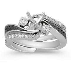 Diamond and Black Ruthenium Wedding Set with Pave Setting