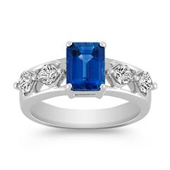 Emerald Cut Sapphire and Calla Cut Diamond Ring