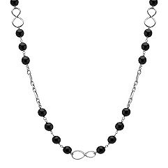 Black Agate and Sterling Silver Infinity Necklace (30 in.)
