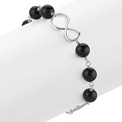 Black Agate and Sterling Silver Infinity Bracelet (8 in.)