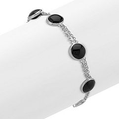 Black Agate and Sterling SIlver Bracelet (8 in.)