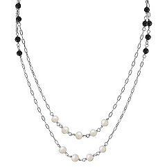 5mm Cultured Freshwater Pearl, Black Agate and Sterling Silver Necklace (47 in.)