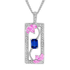 Kite-Shaped Pink Sapphire, Emerald Cut Sapphire, and Round Diamond Pendant (18 in.)