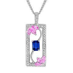 Kite-Shaped Pink Sapphire, Emerald Cut Sapphire, and Round Diamond Pendant (18 in.)