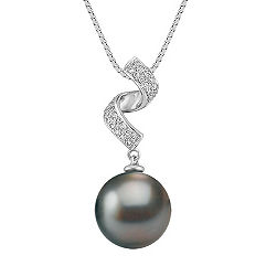 11mm Cultured Tahitian Pearl and Round Diamond Pendant (18 in.)