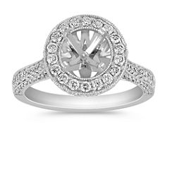 Crown Halo Diamond Engagement Ring with Pave-Setting
