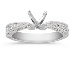 Vintage Diamond Platinum Engagement Ring with Pave Setting