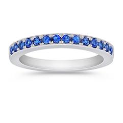 Round Sapphire Pave-Set Wedding Band