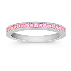 Princess Cut Pink Sapphire Channel Set Wedding Band