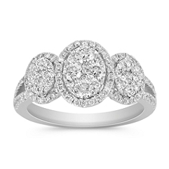 Three Oval Halo and Cluster Round Diamond Ring
