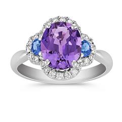 Oval Lavender Sapphire, Half Moon Kentucky Blue Sapphire, and Round Diamond Ring