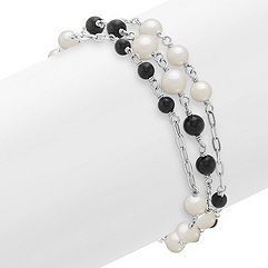 4mm Cultured Freshwater Pearl, Black Agate and Sterling Silver Bracelet (8 in.)