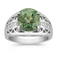Oval Green Sapphire and Princess Cut Diamond Ring