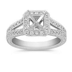 Halo Vintage Diamond Split Shank Platinum Engagement Ring with Pave Setting