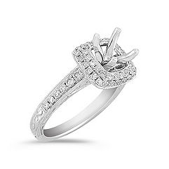 Halo Vintage Diamond Engagement Ring with Pavé setting