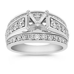 Three Sectioned Cathedral Diamond Engagement Ring with Pave Setting